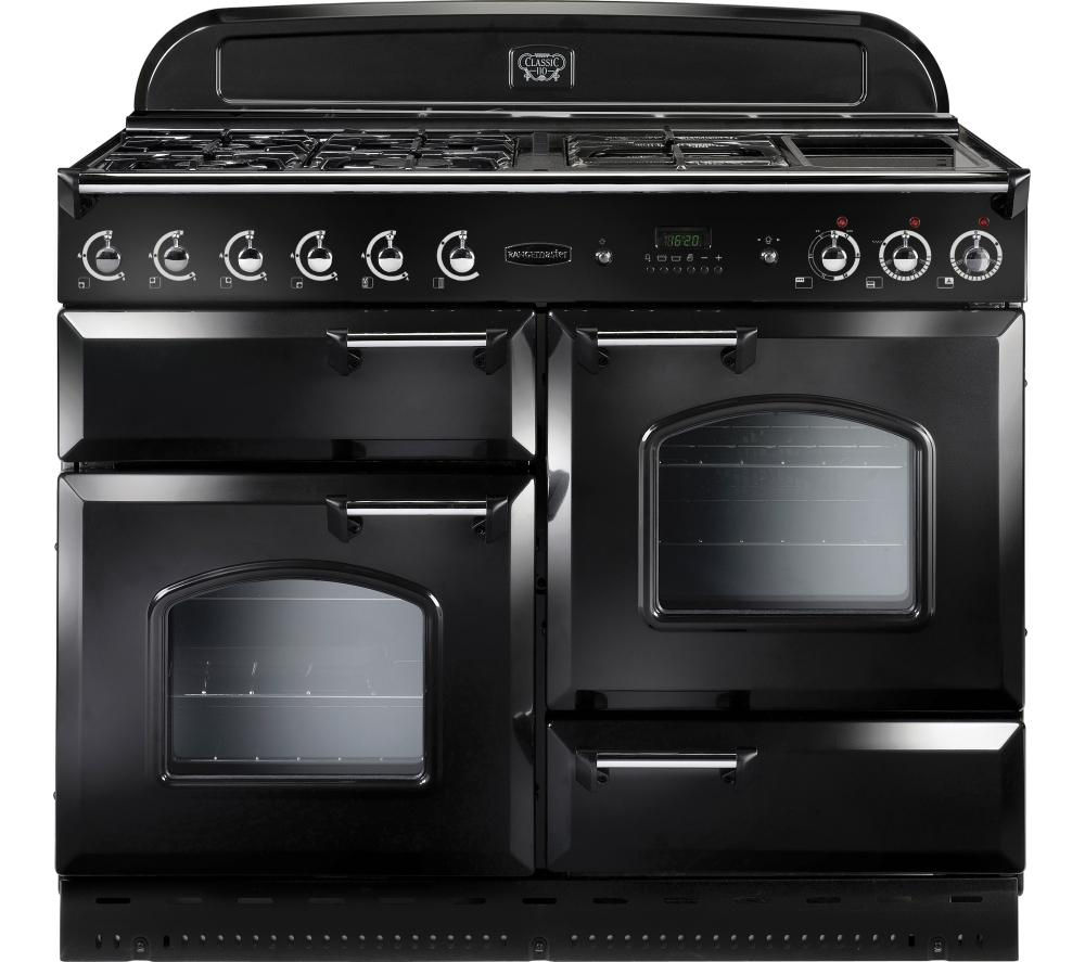 RANGEMASTER Classic 110 Dual Fuel Range Cooker - Black & Chrome