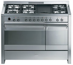 SMEG Opera 120 Dual Fuel Range Cooker - Stainless Steel