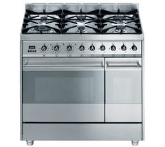 SMEG Symphony 90 Dual Fuel Range Cooker - Stainless Steel