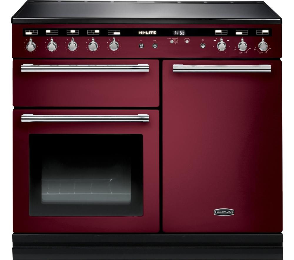 RANGEMASTER Hi-LITE 100 Electric Induction Range Cooker - Cranberry & Chrome