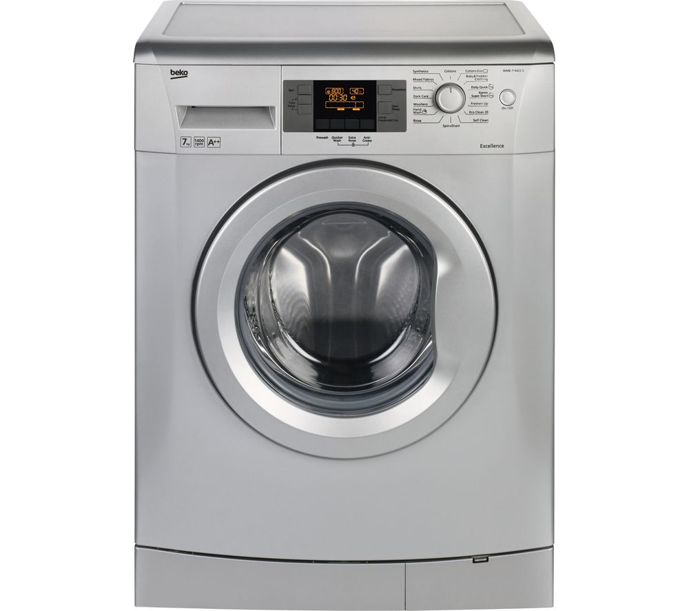 Image of BEKO WMB714422S Washing Machine – Silver, Silver