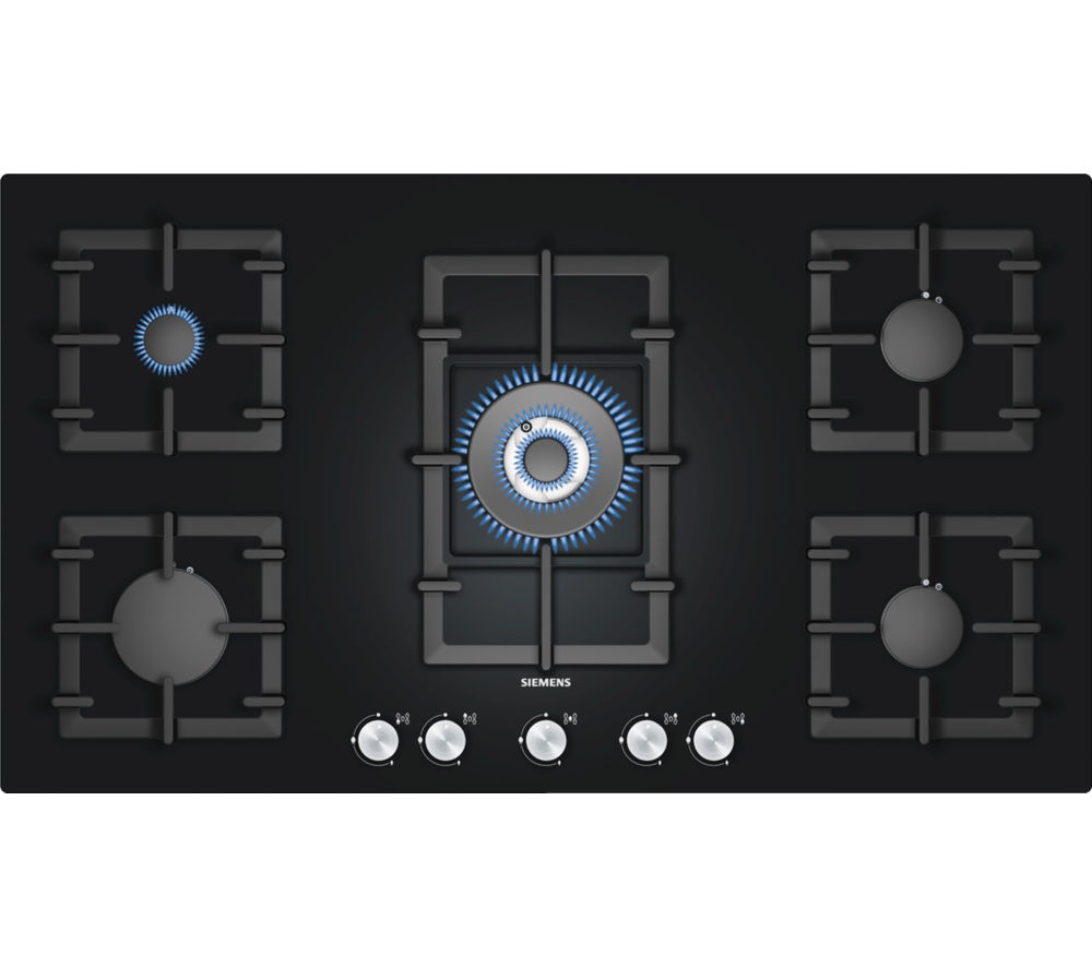 buy siemens ep916qb91e gas hob black free delivery. Black Bedroom Furniture Sets. Home Design Ideas
