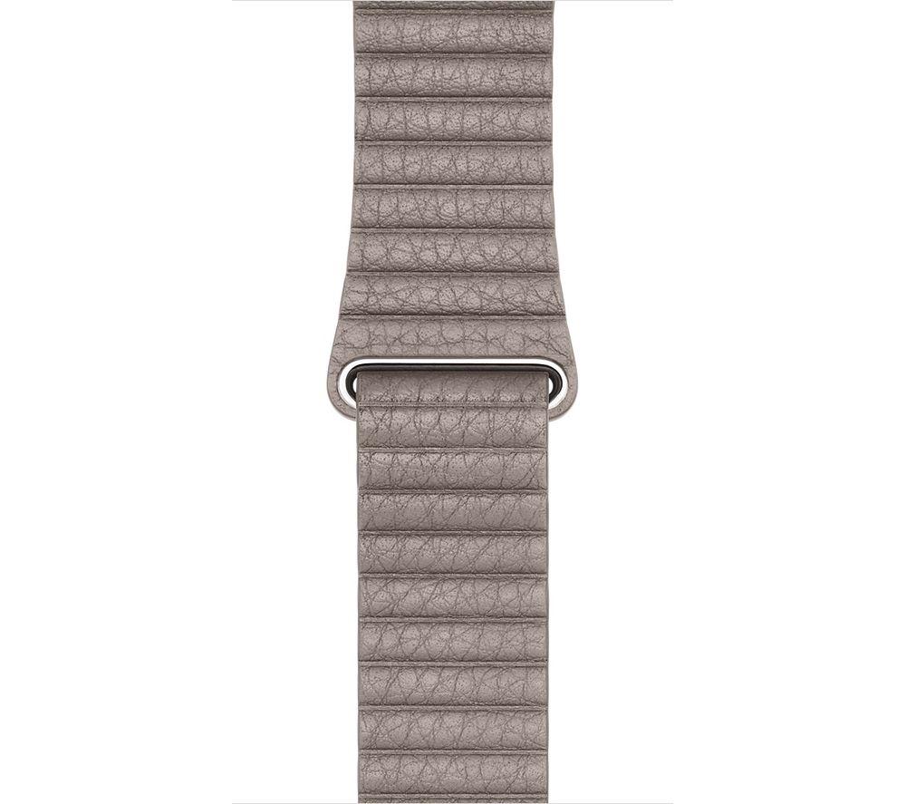 Image of APPLE Watch 42 mm Smoke Grey Leather Loop Band - Large, Grey