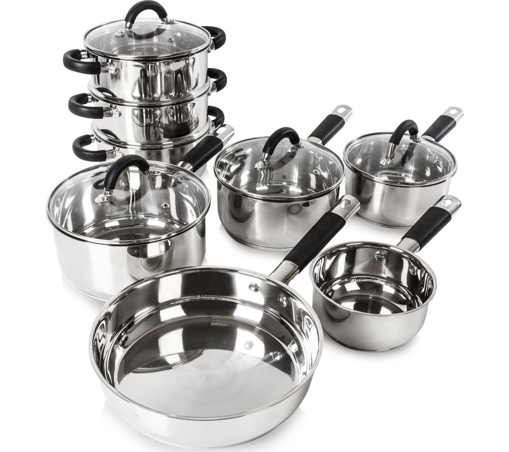 TOWER Essentials T80834 8piece Pan Set  Stainless Steel Stainless Steel