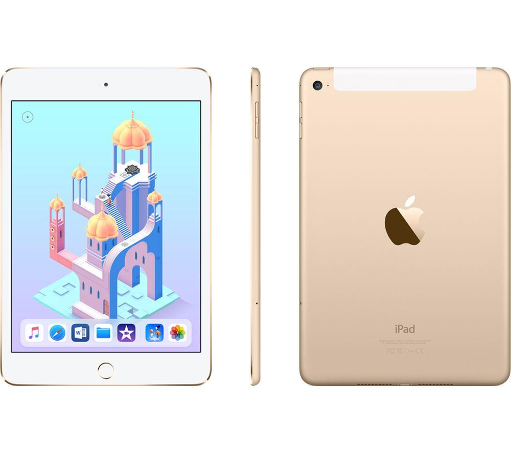 APPLE iPad mini 4 Cellular - 128 GB, Gold + Lightning AV Adapter