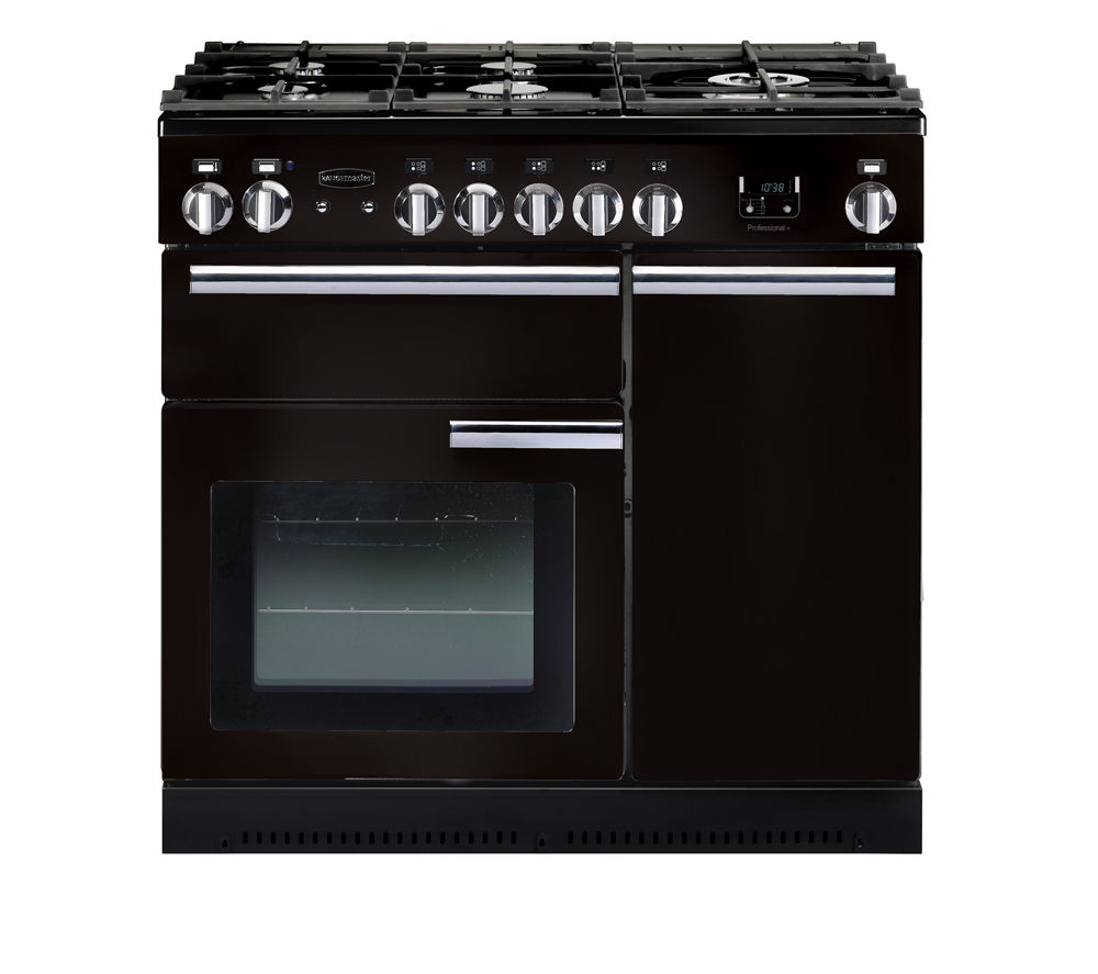 RANGEMASTER  Professional 90 Dual Fuel Range Cooker  Black & Chrome Black