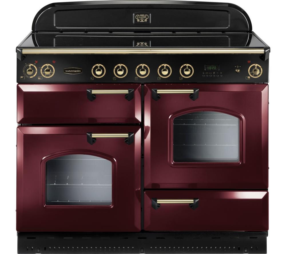 Rangemaster Classic 110 Electric Induction Range Cooker  Cranberry & Brass Cranberry