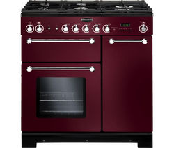 RANGEMASTER Kitchener 90 Dual Fuel Range Cooker - Cranberry & Chrome