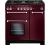 RANGEMASTER Kitchener 90 Dual Fuel Range Cooker - Cranberry & Chrome