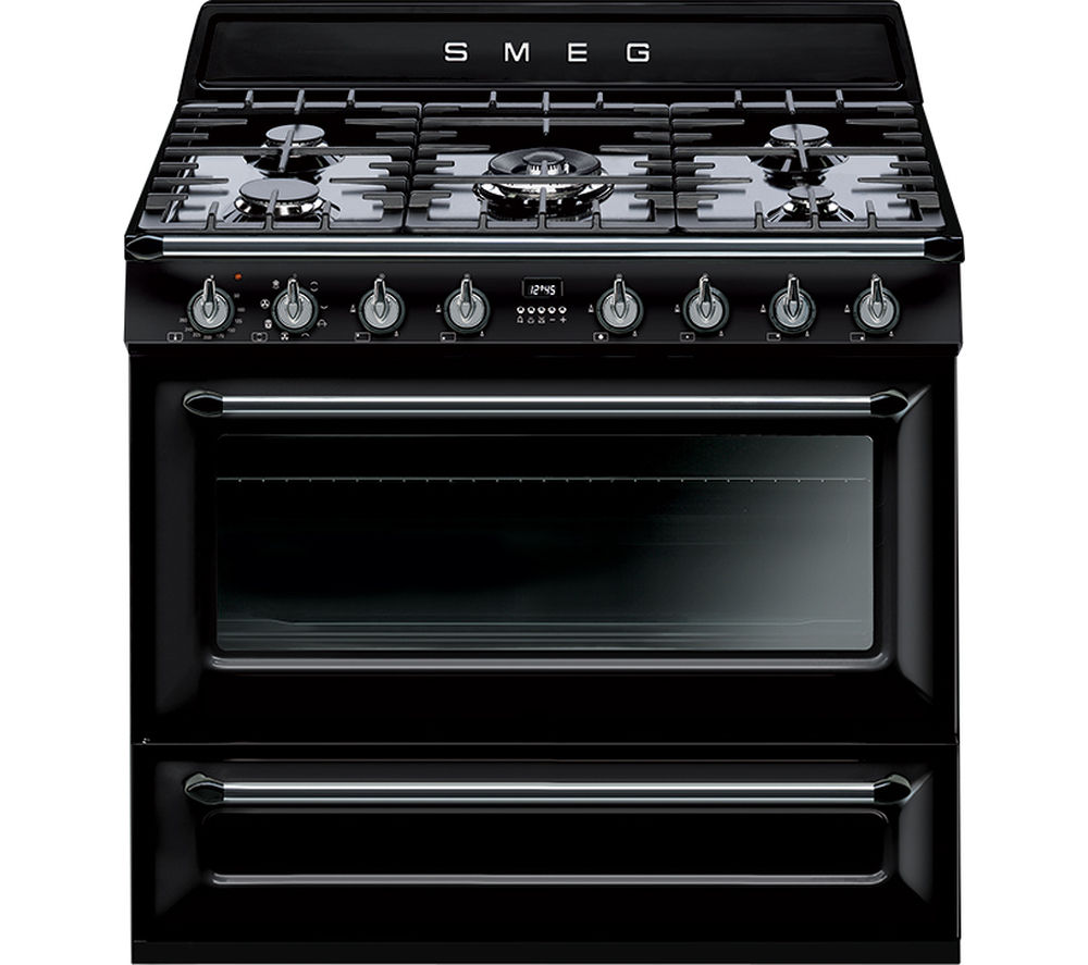 buy smeg victoria 90 cm dual fuel range cooker black. Black Bedroom Furniture Sets. Home Design Ideas
