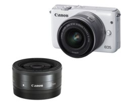 CANON EOS M10 Compact System Camera with 15-45 mm f/3.5-f/6.3 IS STM Wide-angle Zoom Lens - White