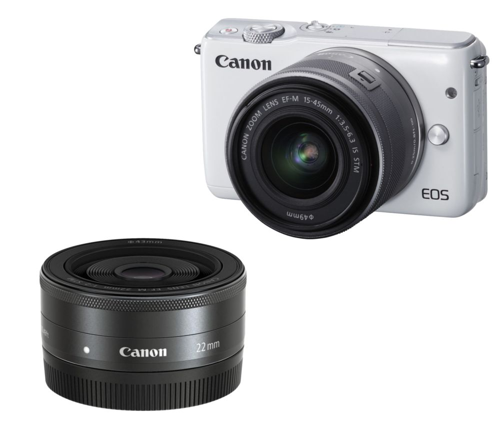 CANON EOS M10 Compact System Camera, Wide-angle Zoom Lens & Pancake Lens Bundle