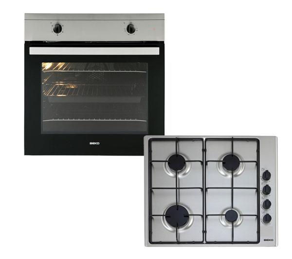 BEKO OSF21133SX Built-in Electric Oven & Gas Hob - Stainless Steel