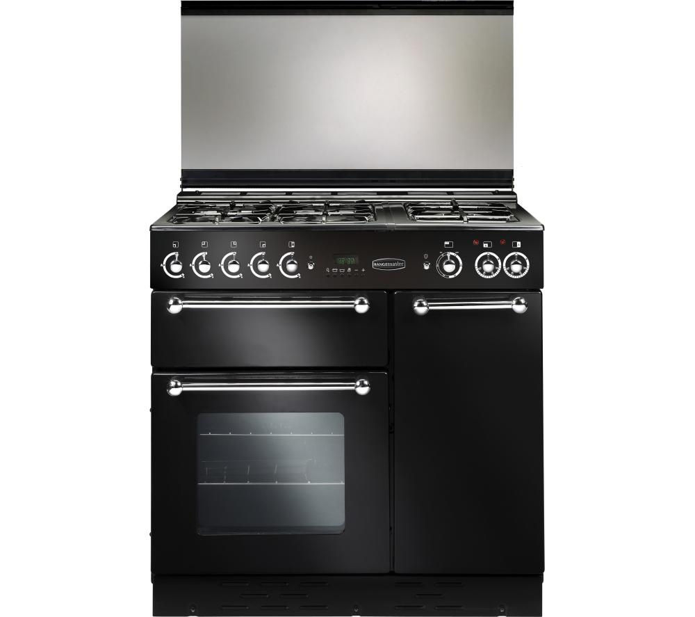 RANGEMASTER 90 Dual Fuel Range Cooker - Black & Chrome