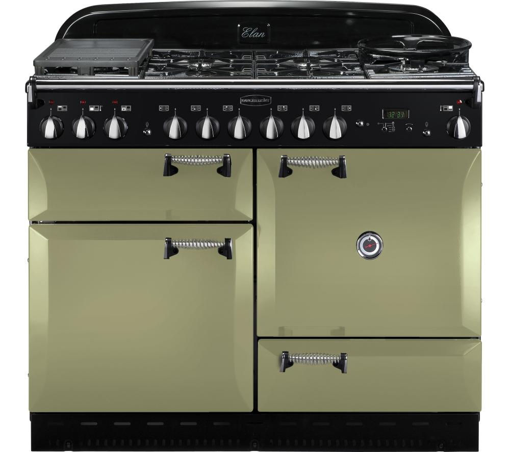 buy rangemaster elan 110 dual fuel range cooker olive. Black Bedroom Furniture Sets. Home Design Ideas