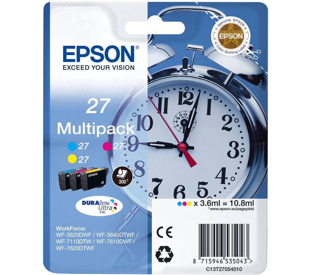 EPSON Alarm Clock 27 Cyan, Magenta & Yellow Ink Cartridges - Multipack
