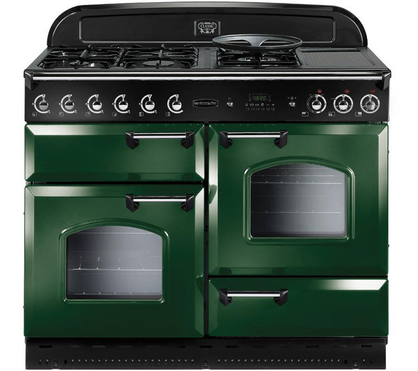 Rangemaster Classic 110 Dual Fuel Range Cooker  Green & Chrome Green