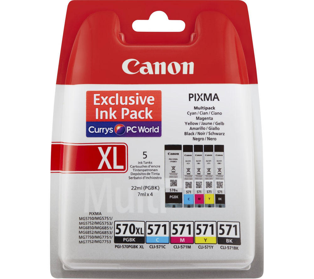 canon pgi570xl 571 ink cartridges multipack deals pc world. Black Bedroom Furniture Sets. Home Design Ideas