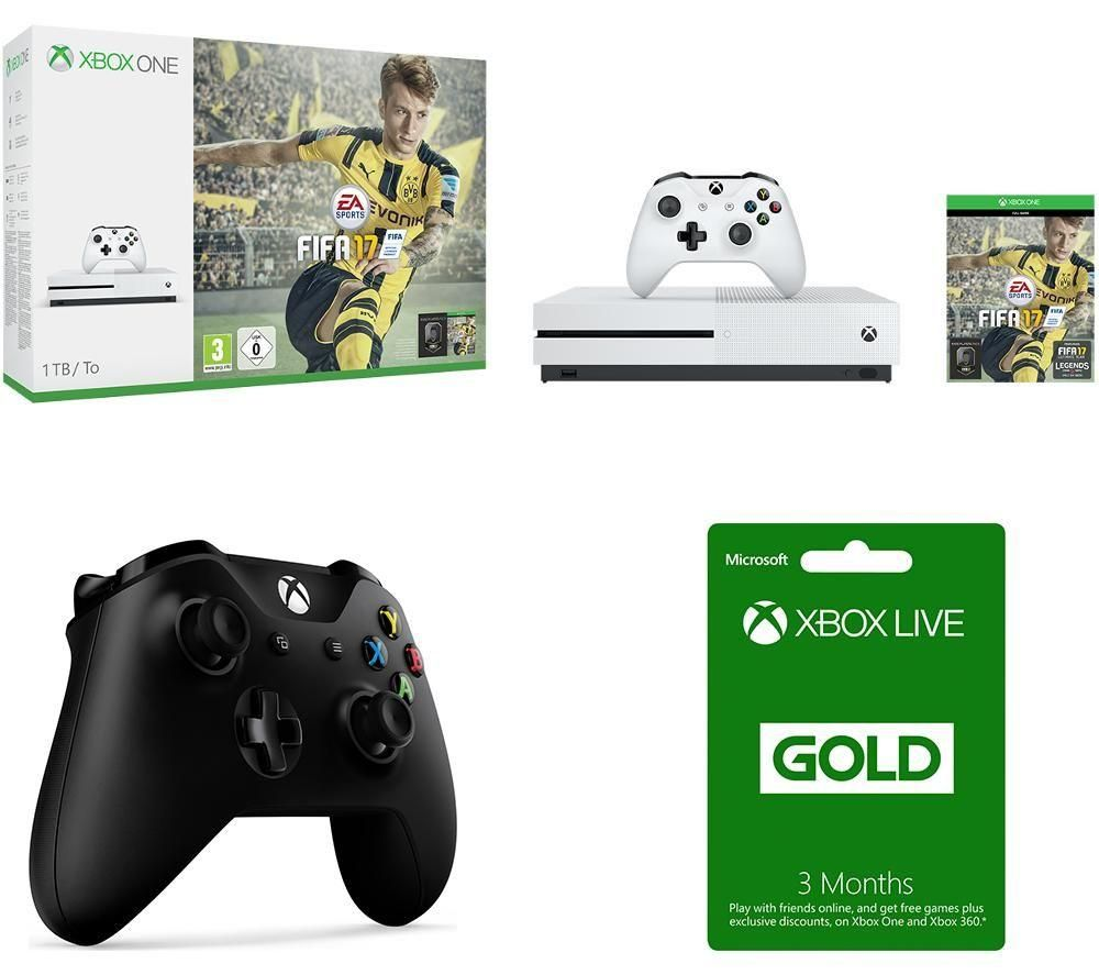 MICROSOFT Xbox One S FIFA 17 3 Month Xbox LIVE Gold Membership & Controller Bundle Gold