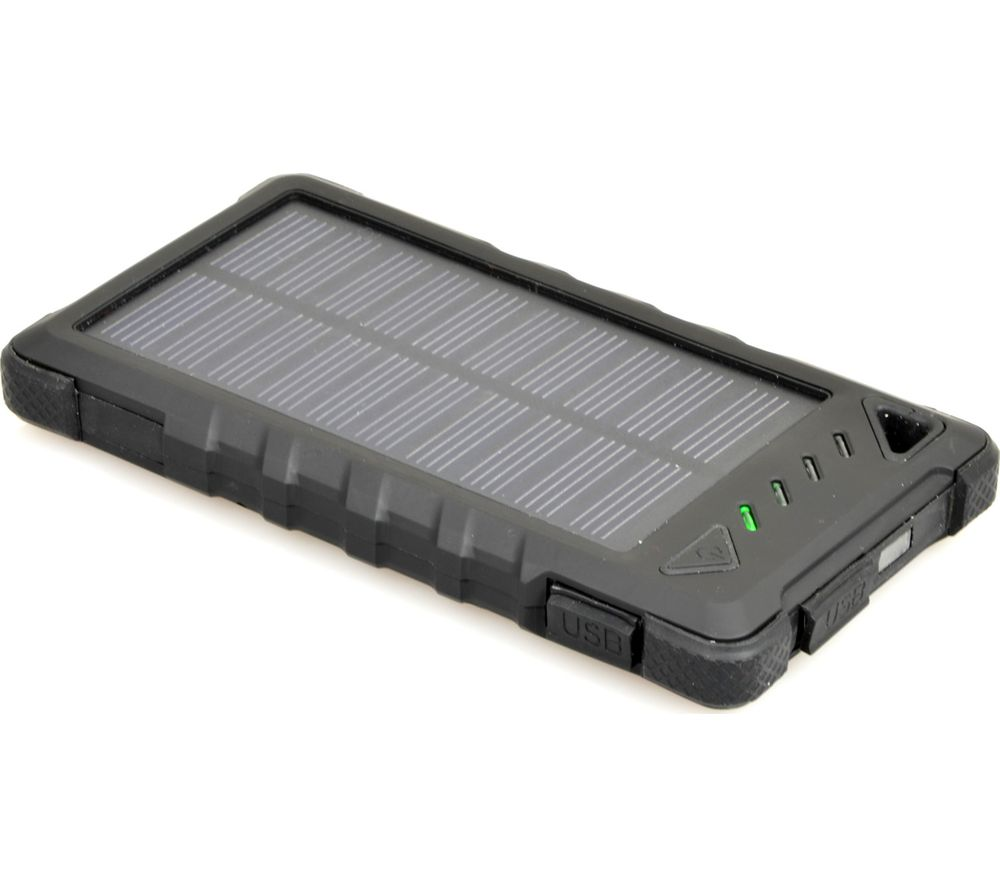 PORT DESIGNS 900114 Solar Portable Power Bank - Black, Black.