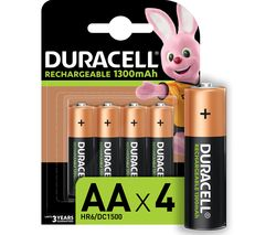 DURACELL AA NiMH Rechargeable Batteries - 4 Battery Pack
