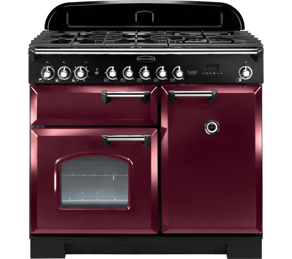 RANGEMASTER Classic Deluxe 100 Dual Fuel Range Cooker - Cranberry & Chrome
