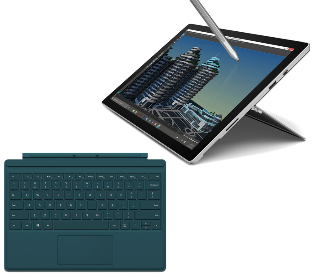 MICROSOFT Surface Pro 4 256 GB & Teal Typecover Bundle