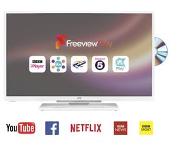 "JVC LT-32C666 Smart 32"" LED TV with Built-in DVD Player - White"