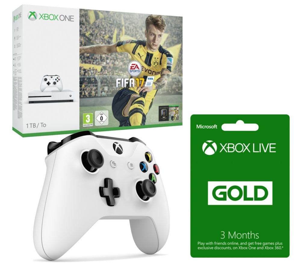 MICROSOFT  Xbox One S with FIFA 17 with Controller & 3 Months Xbox LIVE Gold Membership Bundle  1 TB Gold