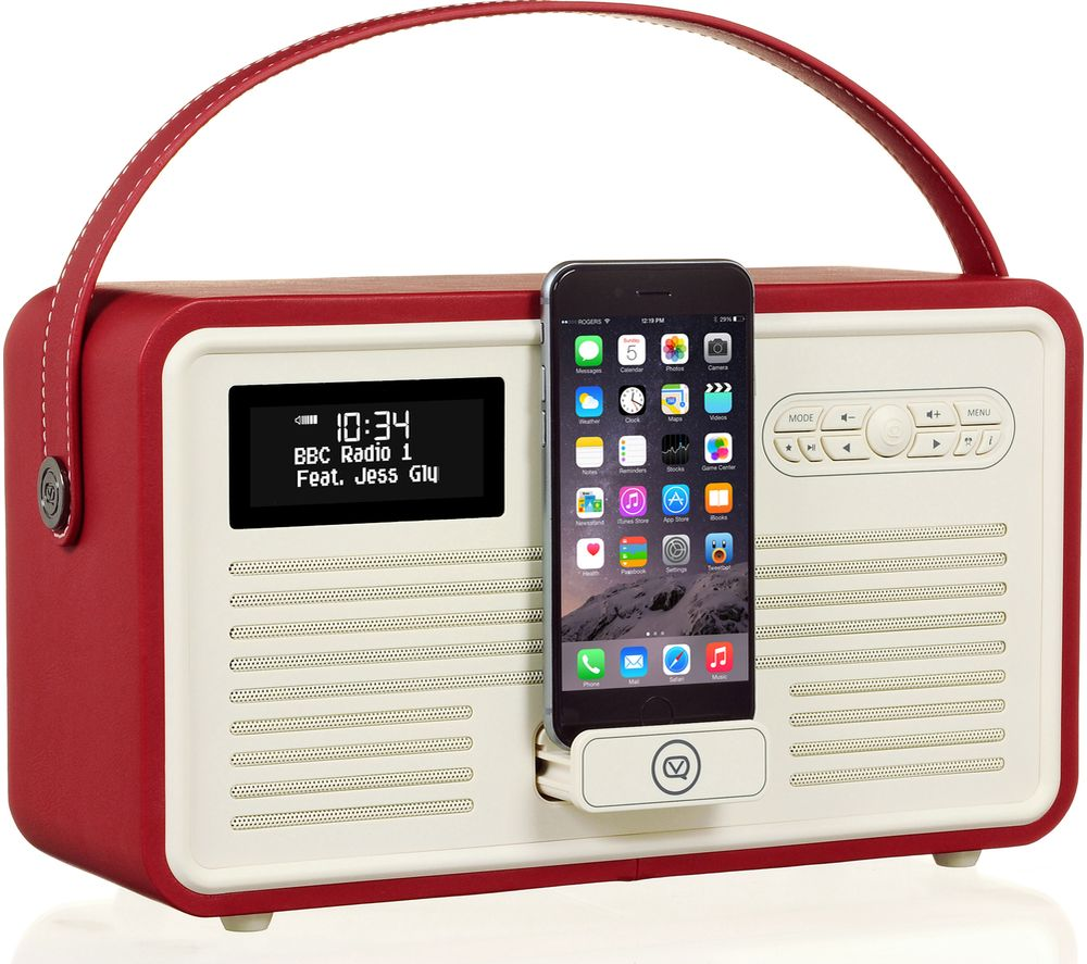 VIEWQUEST Retro Mk II Portable DAB+/FM Bluetooth Clock Radio - Red