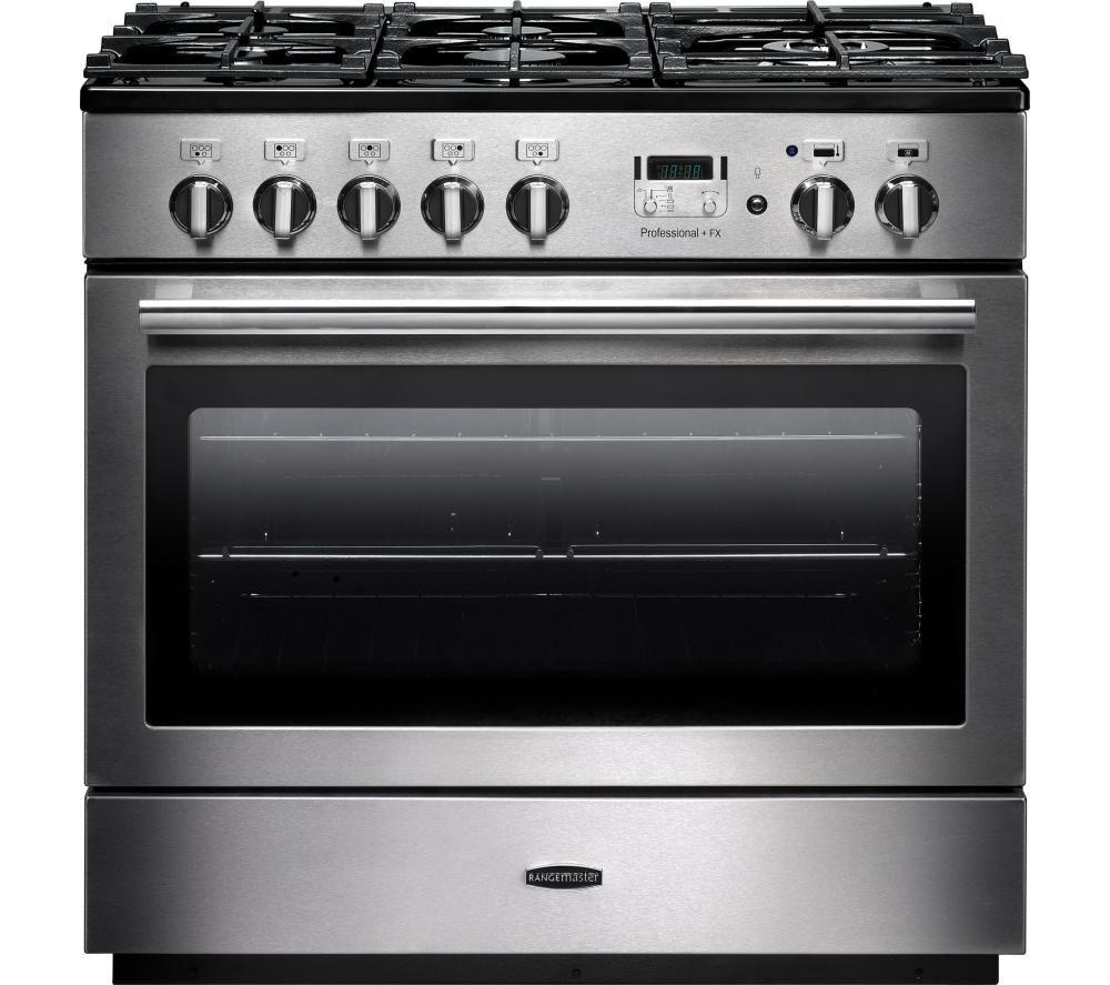 RANGEMASTER Professional+ FX 90 Dual Fuel Range Cooker - Silver & Chrome