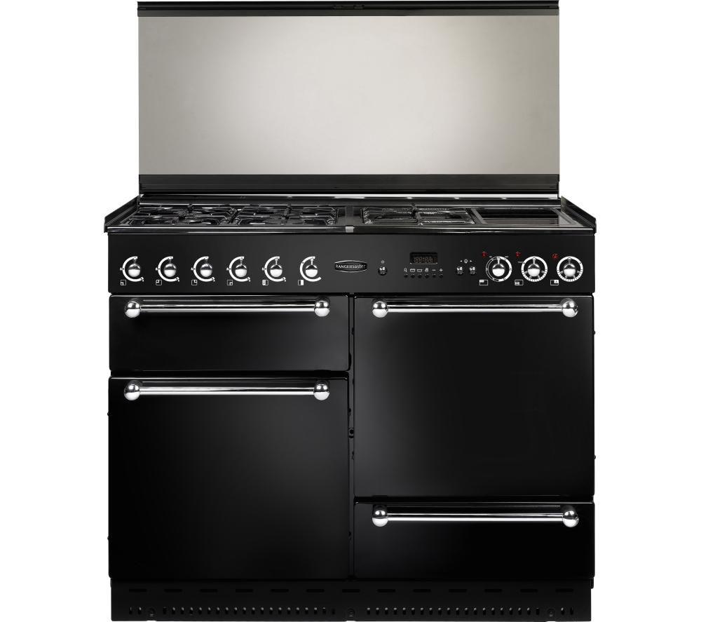 RANGEMASTER 110 Dual Fuel Range Cooker - Black & Chrome