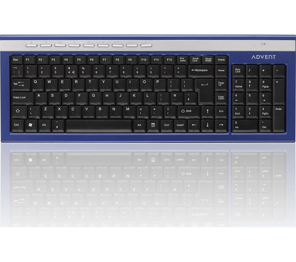 ADVENT AKBWLBL15 Wireless Keyboard - Blue & Silver