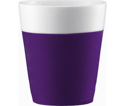 BODUM Bistro Porcelain Mug with Silicone Band - Purple, Pack of 2