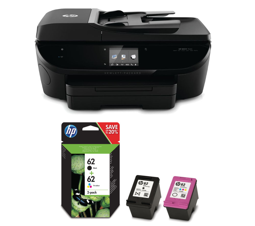 hp envy 7640 all in one wireless printer with black tri. Black Bedroom Furniture Sets. Home Design Ideas