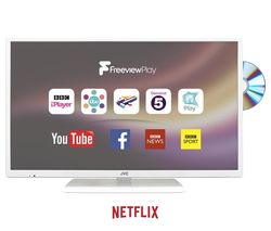 "JVC LT-32C676 32"" Smart LED TV with Built-in DVD Player - White"