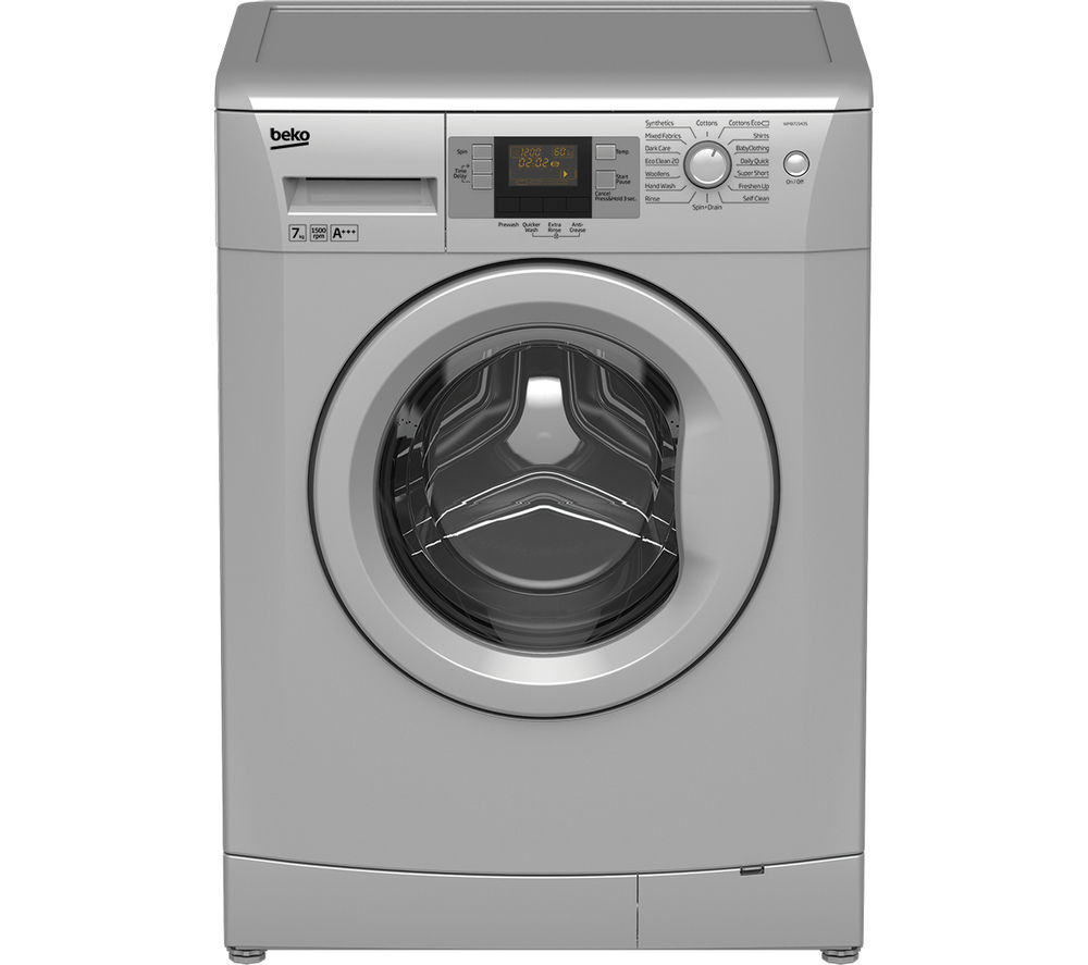 BEKO WMB71543S Washing Machine - Silver + DCX71100W Condenser Tumble Dryer - White