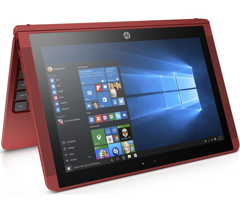 "HP x2 10-p057na 10.1"" Touchscreen 2 in 1 - Red + L10LBK11 11.6"" Slipcase - Black"