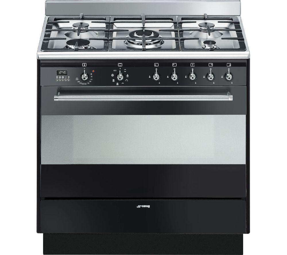 buy smeg concert 90 cm dual fuel range cooker black free delivery currys. Black Bedroom Furniture Sets. Home Design Ideas