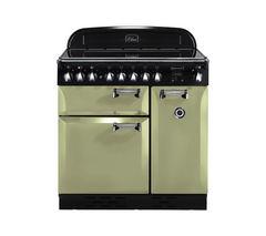 RANGEMASTER Elan 90 Electric Induction Range Cooker - Olive Green & Chrome