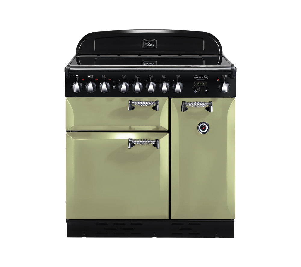 buy rangemaster elan 90 electric induction range cooker olive green chrome free delivery