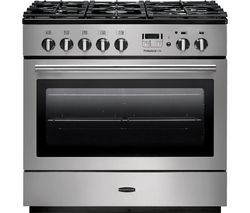 RANGEMASTER Professional+ FX 90 Dual Fuel Range Cooker - Stainless Steel & Chrome