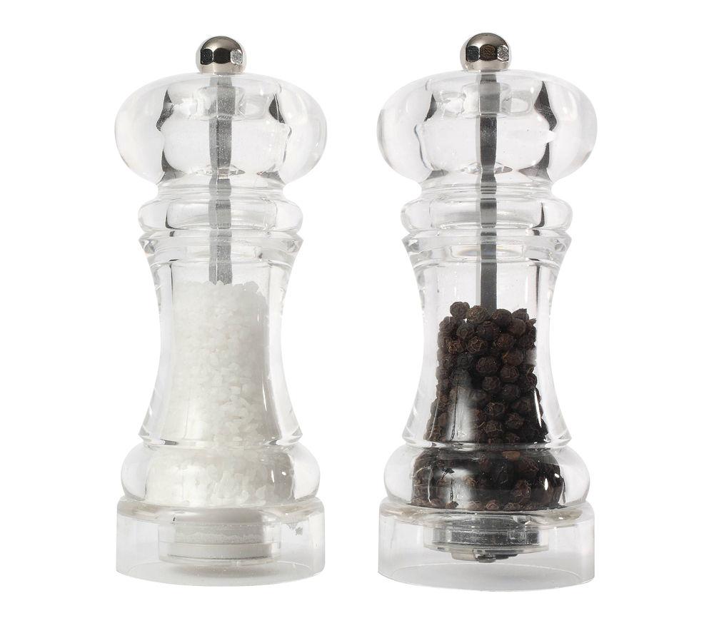 T&G WOODWARE Capstan Salt & Pepper Mill Set - Clear Acrylic
