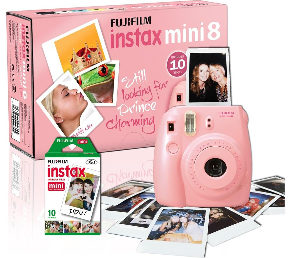 FUJIFILM Instax Mini 8 Instant Camera & 10 Shot Bundle - Pink