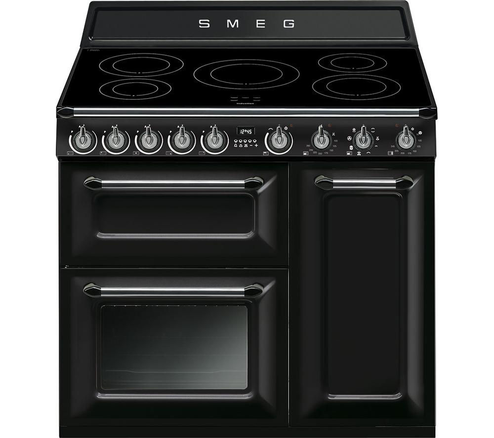 SMEG Victoria TR93IBL 90 cm Electric Induction Range Cooker - Black & Stainless Steel