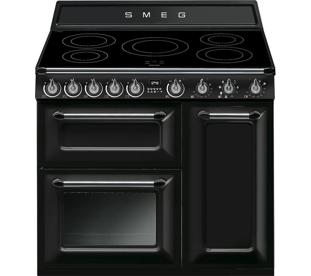 buy smeg victoria tr93ibl 90 cm electric induction range cooker black stainless steel free. Black Bedroom Furniture Sets. Home Design Ideas