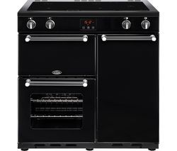BELLING Kensington 90 cm Electric Induction Range Cooker - Black & Chrome