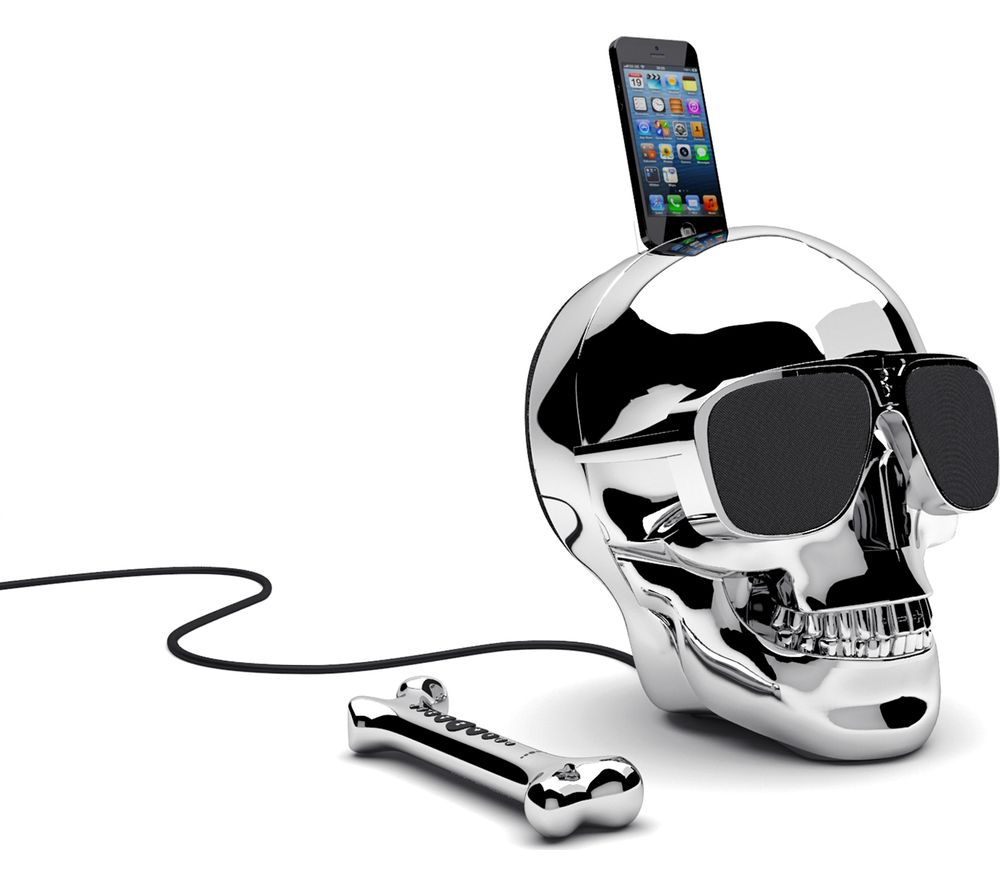 Click to view more of JARRE  Aeroskull HD+ Wireless Speaker - Chrome Silver, Silver
