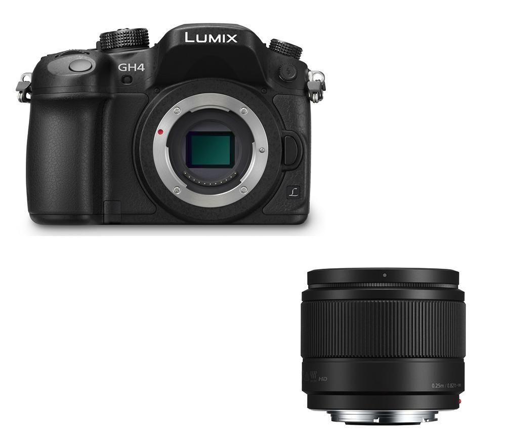 PANASONIC Lumix DMCGH4REK Mirrorless Camera & 25 mm f1.7 Lens Bundle