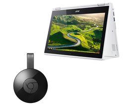 ACER Chromebook R 11 CB5-132T 2-in-1 Touchscreen & Chromecast Bundle - White